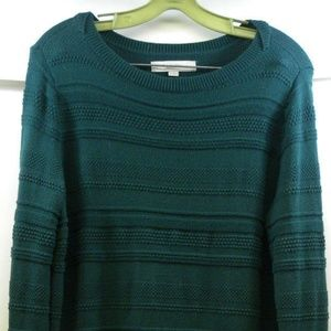 Ann Taylor Loft Ribbed Green Sweater Sz Large